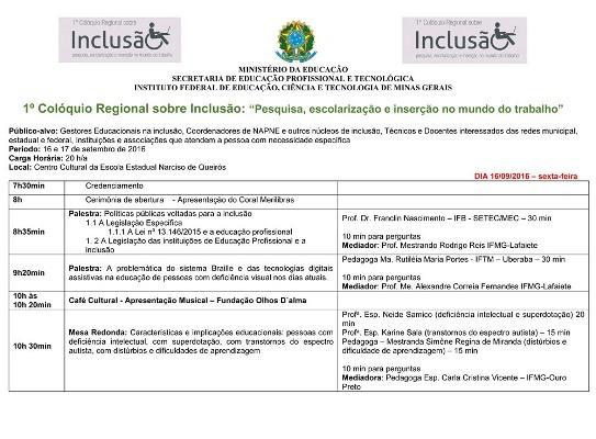 IFMG - 1º Colóquio Regional sobre Inclusão