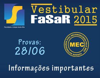 Vestibular FASAR 2º semestre 2015: Informações importantes